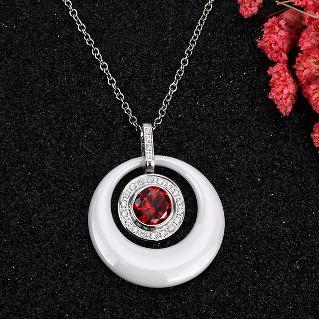 Súprava šperkov ČERVENÝ KRYŠTÁL náušnice náhrdelník 2farby Ceramic Jewelry Set