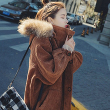 Corduroy Wool Fur Collar Jacket Plus Velvet Thickening Coat 2019 Women Winter Fashion Loose Wadded Hooded Parkas Outerwear Ls12 winter children s fur coat long style boy leather clothing hooded girl faux fur jacket thickening plus velvet cotton outerwear