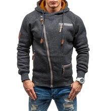 цена на 2019 new 3 color men's fashion casual diagonal zipper Sweatshirt zipper decorative hooded Sweatshirt Plus size S-4XL
