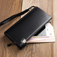 2016 Baellerry Business Men S Wallets Solid Leather Long Wallet Portable Cash Purses Casual Standard Wallets