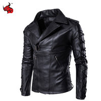 New Retro PU Leather Motorcycle Jackets Men Drawstrings Moto Jackets Hip Hop Streetwear Biker Classic Leather Jackets Size M-5XL