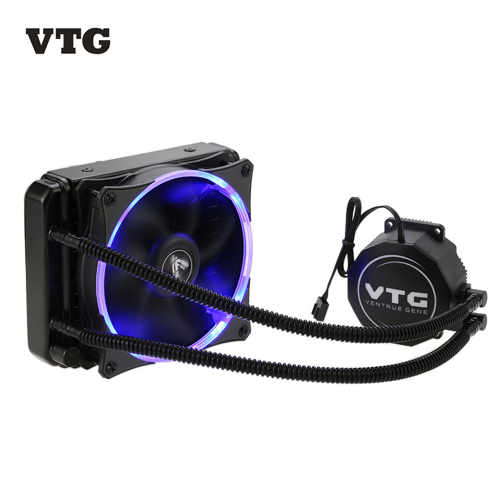 VTG120 Liquid Freezer Water Liquid Cooling System CPU Cooler Fluid Dynamic Bearing 120mm Fan with Blue LED Light for PC Desktop compute fan cpu cooling fan blueled light freezer water liquid cooling system cpu cooler fluid dynamic bearing for computer