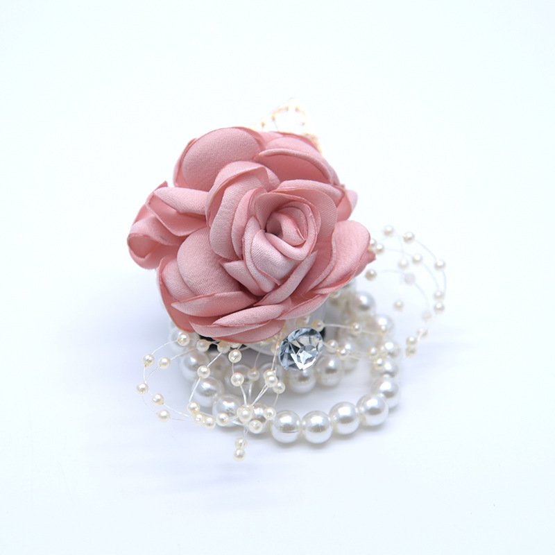 Quality wedding corsages silk rose corsage wrist flowers Bridesmaid Sisters Hand flowers Artificial creative wedding supplies