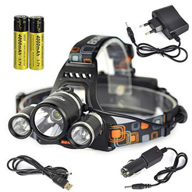 BORUIT 6000LM 3x XM-L T6 LED Headlamp Headlight Head Torch Lamp+2X 18650+Charger Bike Cycling Bicycle Headtorch Portable Light 6000lm 3x xm l t6 white 2r5 red led headlamp bike bicycle head light torch headlight lampe frontale ac charger 2x18650 battery