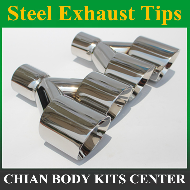 Free Shipping: 1Pair 63mm Inlet 89mm Outlet Stainless Steel Car Exhaust Tip universal Exhaust Muffler Dual Tips for any cars universal dual stainless steel muffler for vehicles exhaust pipe 63mm inner diameter