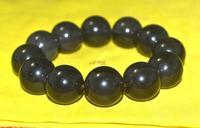 free shipping Magic Power Tibetan Obsidian Round Shape 18MM Bead Man's Big Bracelet Amulet