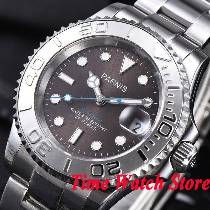 Parnis 41mm hommes de montre verre saphir lumineux date loupe en céramique lunette 5ATM 21 bijoux MIYOTA Automatique montre-bracelet hommes 936