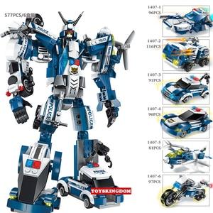 Image 3 - 577pcs Legoings 6 In 1 Police War Generals Robot Car Building Blocks Kit Toys Kids Birthday Christmas Gifts