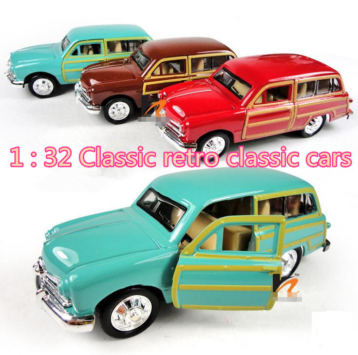 Classic Toys! 1 : 36 Metal Retro Classic Cars Pull Back Open Door Model Cars Toy Children's Toys Best Products Free Shipping
