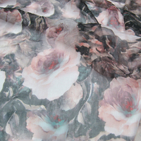 Limited hot sale Big flowers 100% silk along the fiber fold georgette fabric for dress shirt tissu au meter bright cloth DIY