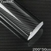 YawlooC 1 PCS 50 200cm Black 5D Carbon Fiber Vinyl Film Car Wrap Film 5D Carbon