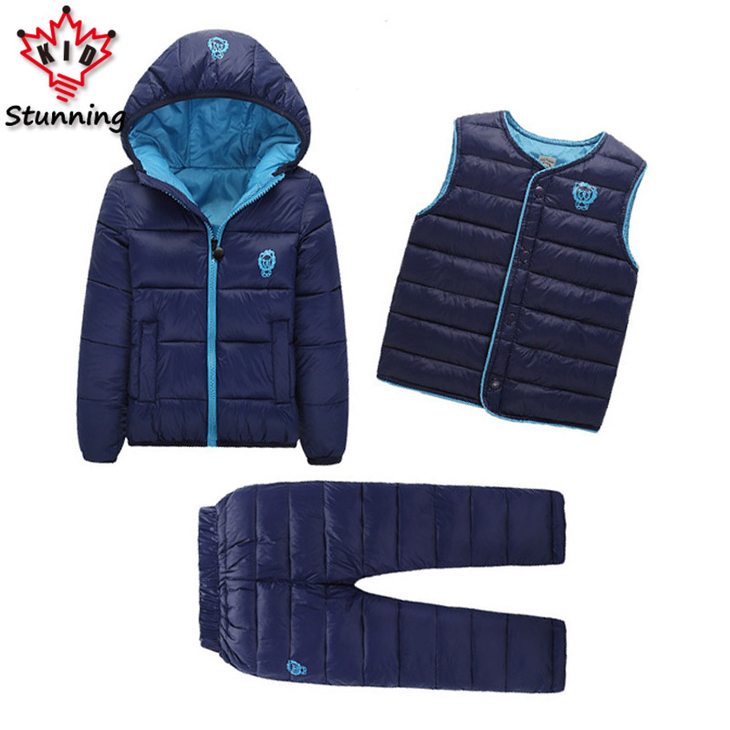 2-7 Years Snow Wear Clothing Sets Brand 2017 Winter Baby Boys Girls Clothing Sets 3Pcs Down Coats+Vests+Pants Warm Kids Clothes korea lace knitted sweaters warm dresses winter baby wear clothes girls clothing sets children dress child clothing kids costume