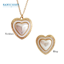 SANSUMMER Necklace And Ring Set Fashion Jewelry Womens Accessories Sets Simple Metal Heart Pearls 5042