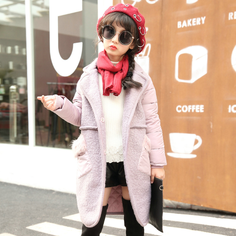 New Fashion Winter Girls Coat Autumn Patchworks Fur Kids Warm Jacket Outerwear & Coat Children Clothing Baby Wear Girl Coats bort ba 18u li 1 3
