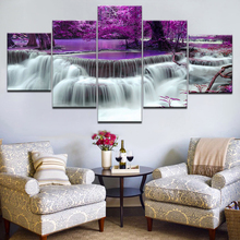 5Panel HD Printed The purple forest with waterfall Landscape Print On Canvas Art Painting For home livingroom decoration