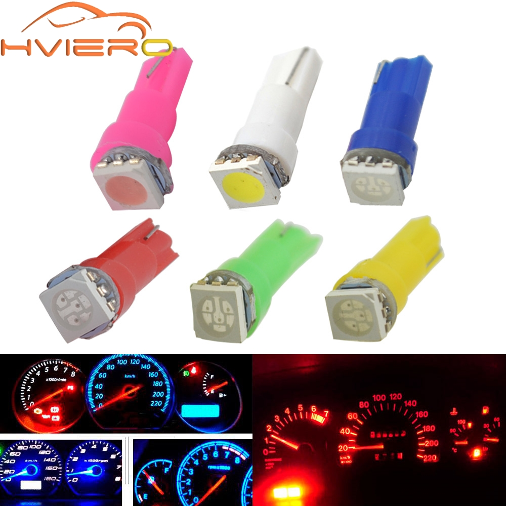 10X T5 5050 1SMD Wedge Led Dashboard White Red Blue Green Yellow Pink Car Auto Light Interior Interior Bulb Side Lamps DC 12V