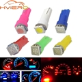 10X T5 5050 1SMD Клин Светодиодная панель белый красные, синие зеленый, желтый, розовый машина автомобиль свет подкладке Интерьер лампы сбоку лампы DC 12 V - фото