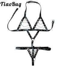 TiaoBug Sexy Women PU Leather Chains Body Chest Harness Crotchless Halter Cage Bra Upper Body Belt Adjustable Porno BDSM Bondage