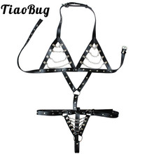 TiaoBug Sexy Women PU Leather Chains Cupless Body Harness Crotchless Halter Neck Bra Upper Body Chest Belt Adjustable Bondage