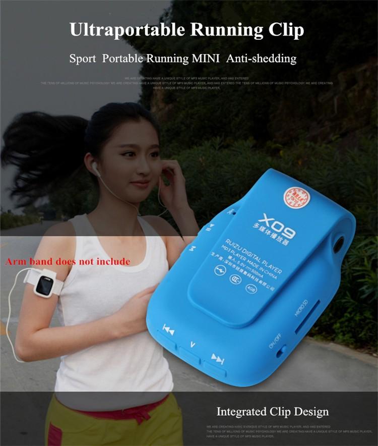 RUIZU X09 MINI MP3 Player Running Sports Clip Mp3 Walkman Support TF Card Music Player With 1.5 inch Screen E-Book Recording FM (1)