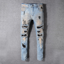High Street Fashion Men Jeans Blue Color Retro Washed Paint Ripped Jeans Men Punk Style Destroyed Pants Hip Hop Skinny Jeans