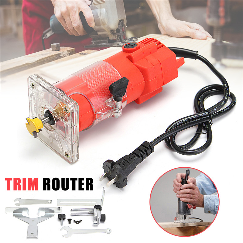 300W 220V Electric Wood Power Trim Router 30000RPM 6mm 1/4 Bit Woodworking Edge Banding Molding Machine Power Tool Red