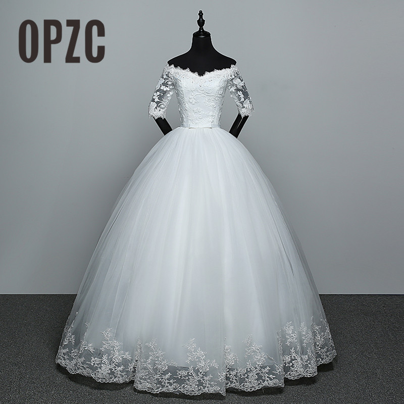 Hot Sale Wedding Dresses 2019 New Arrival Appliques Embroidery Lace Half Sleeve Sexy Boat Neck Princess Gown Vestido De Noiva 65