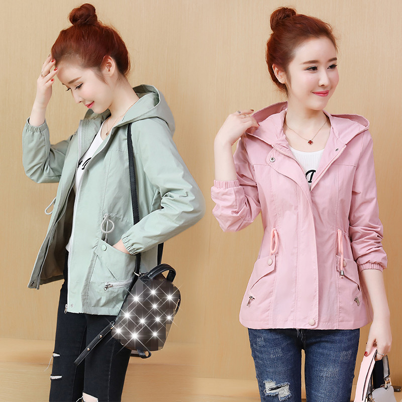 2019 Spring Autumn New   Trench   Coat Women Korean Fashion Loose Ladies Casual Windbreaker Hooded Coat Girls Tops X774