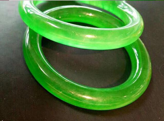 58 мм Сертификат(класс А) натуральный зеленый жадеит нефрит браслет