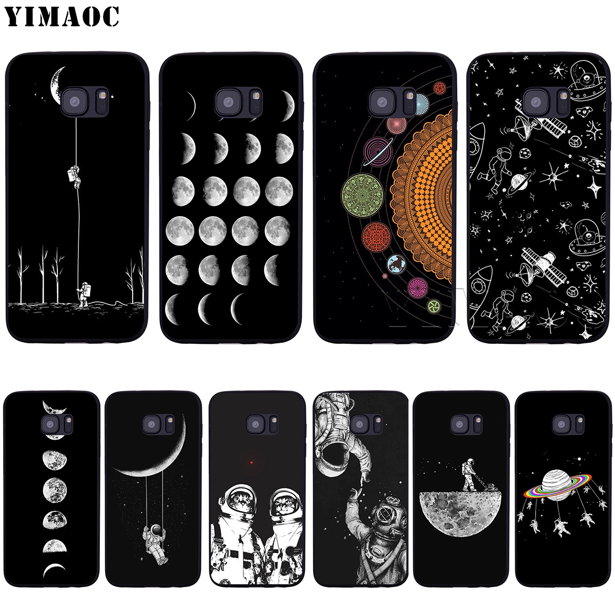 YIMAOC Space Moon Astronaut Soft Silicone Case for Samsung Galaxy S6 S7 S10e Edge S8 S9 Plus A3 A5 A6 A7 A8 A9 J6 Note 8 9 2018