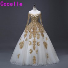 cecelle Gold Ball Gown Wedding Dresses With Long Sleeves