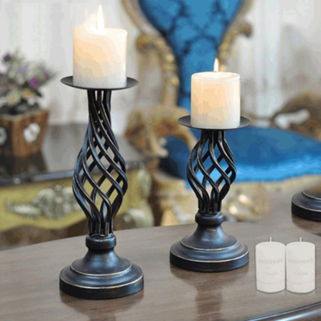 Large Vintage Wrought Iron Gl Candelabra Holders Wedding Candlestick Candle Holder Retro Decorative Products 50z0024