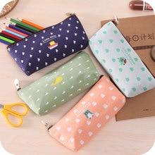 korean canvas pencil case kawaii stationery bag Animal family pencil bag estojo escolar school supplies