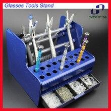 TS4001 פלסטיק משקפיים כלים Stand מברג פלייר Stand מחזיק Rack ברגי האף רפידות מקרה תיבת עבור אופטי תיקון כלים