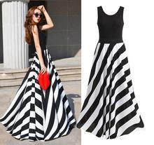 2016 Zanzea Vestidos Summer Style Womens vestidos Striped Maxi Dress Long Beach Dress Vestido Longo Robe