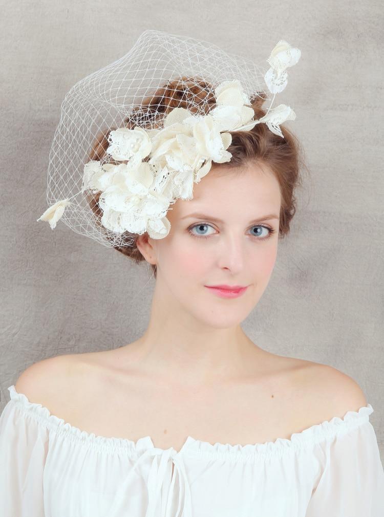 Genossenschaft Vintage Elfenbein Tüll Kappe Vogelkäfig Hochzeit Zubehör Brautschleier Birdcage Brautschleier Kurz Braut Zubehör