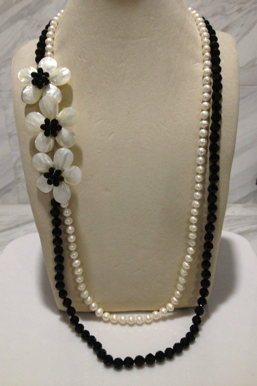 Long collier de perles d'eau douce cristal coquillage fleur collier multicouche livraison gratuite femmes bijoux classique blanc et noir