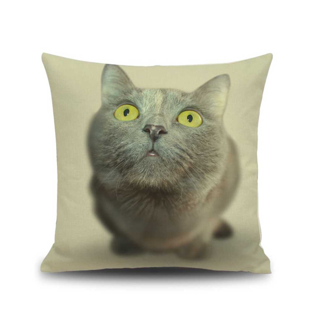 45x45cm 3D Printing Cat Eyes Faces Throw Pillow Case Sofa