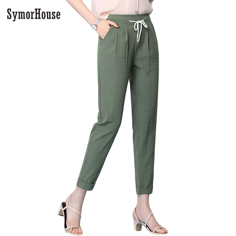 SymorHouse Women Loose Original Design Vintage Cotton Linen   pants   High waist Drawstring   Pants     Capris   Casual Harem Trousers 3XL