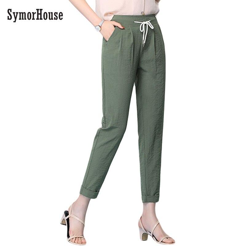 SymorHouse Women Loose Original Design Vintage Cotton Linen   pants   High waist Drawstring   Pants     Capris   Casual Harem Trousers 3XL