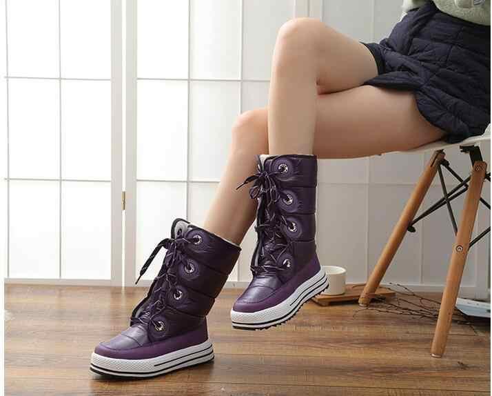 2018 mode femmes bottes style européen botte de neige pour adulte haute qualité en caoutchouc bottes imperméable femmes en peluche bottes longues taille 36-41