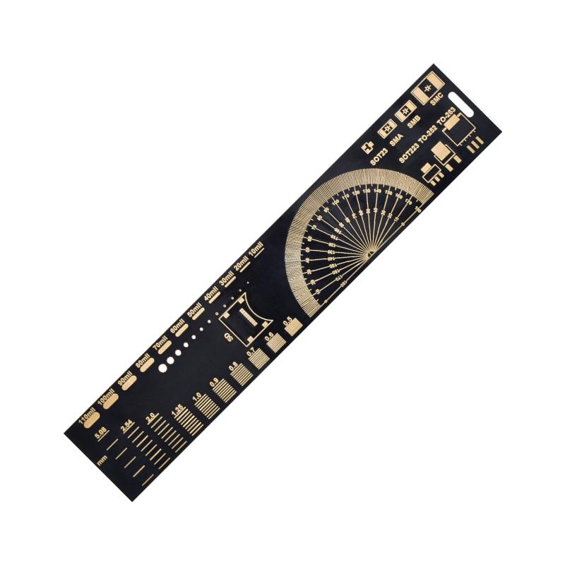 Multifunctional PCB Ruler EDA Measuring Tool High Precision Protractor 20CM Black