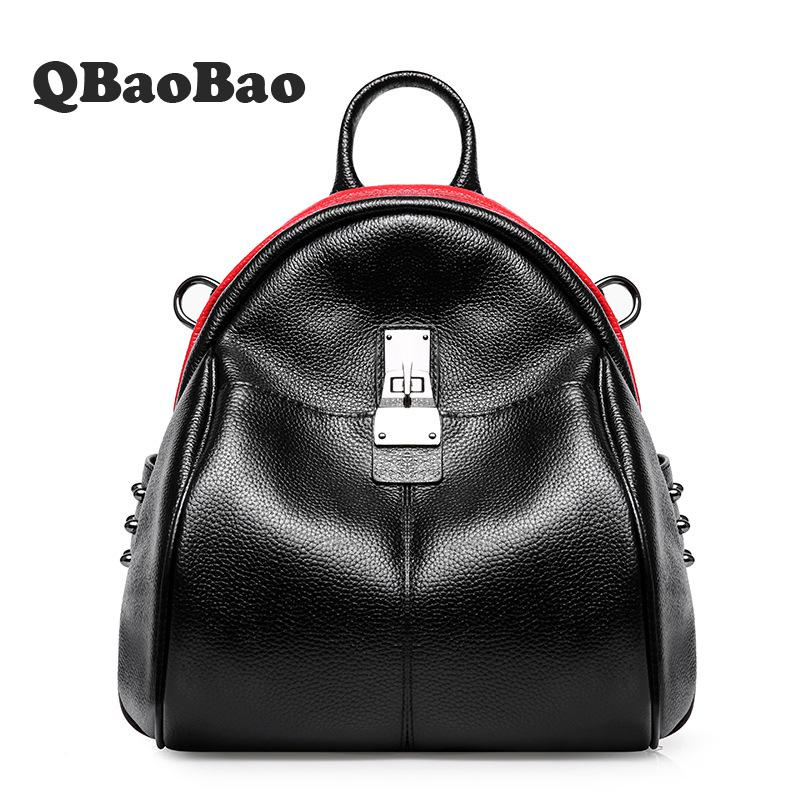 Brand Women Backpack 2017 Genuine Leather School Bags For Girl Mochila Feminina Laptop Bookbag Travel Backpacks Sac a dos 2016new rucksack luxury backpack youth school bags for girls genuine leather black shoulder backpacks women bag mochila feminina