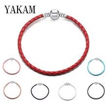 Зима, очаровательный браслет Pandora, цветной браслет из натуральной кожи, базовая цепочка, роскошный бренд, Женские Ювелирные изделия, сделай сам