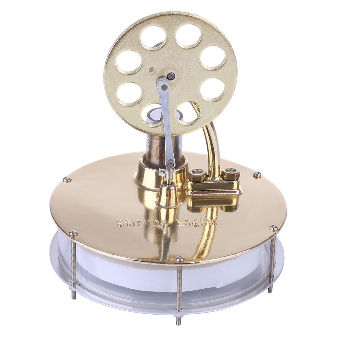 NFSTRIKE Low Temperature Stirling Engine Model Power Educational DIY Model Toy For Kids Adults 2019  - Golden