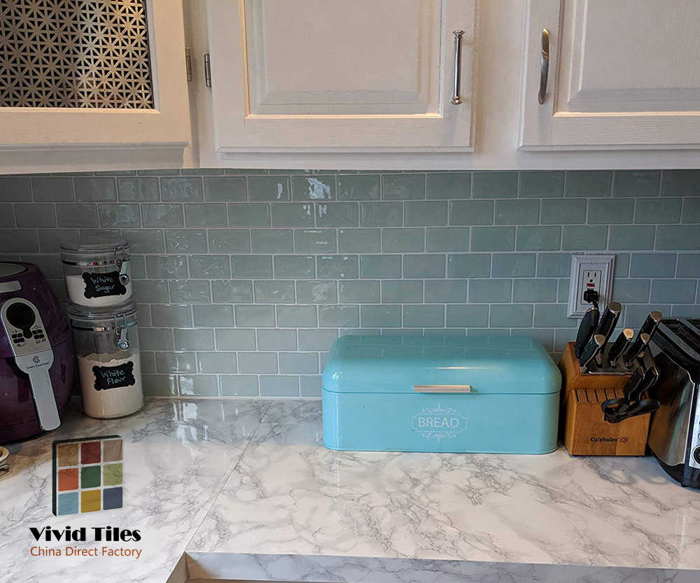 Papel tapiz de vinilo autoadhesivo Vividtiles tamaño grande 12*12 pulgadas Peel and Stick Green Subway efecto 3D azulejos para Kicthen (1 hoja)