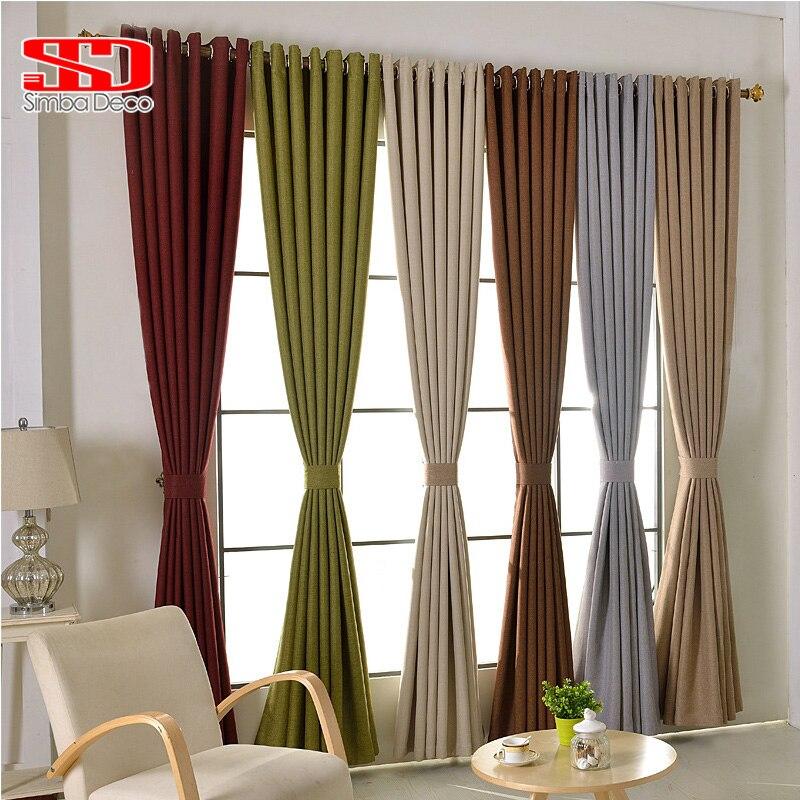 Moderne Faux Plain Bettwäsche Blackout Vorhang Für Wohnzimmer Solide  Vorhänge Shades Für Schlafzimmer Fenster Panel Custom Größe Cortina Grau
