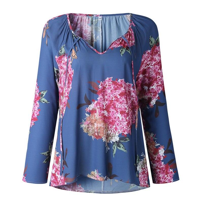Autumn Casual Shirt Women Clothes Streetwear Fashion Print Drawstring V-Neck Long Sleeve Sexy Ladies Tops Vetement Femme 2018 (20)
