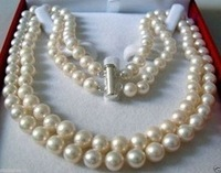 very good Natural DOUBLE STRAND 8 9 MM AKOYA SALTWATER PEARL NECKLACE AAA Unusual Fine women jewelry shippi