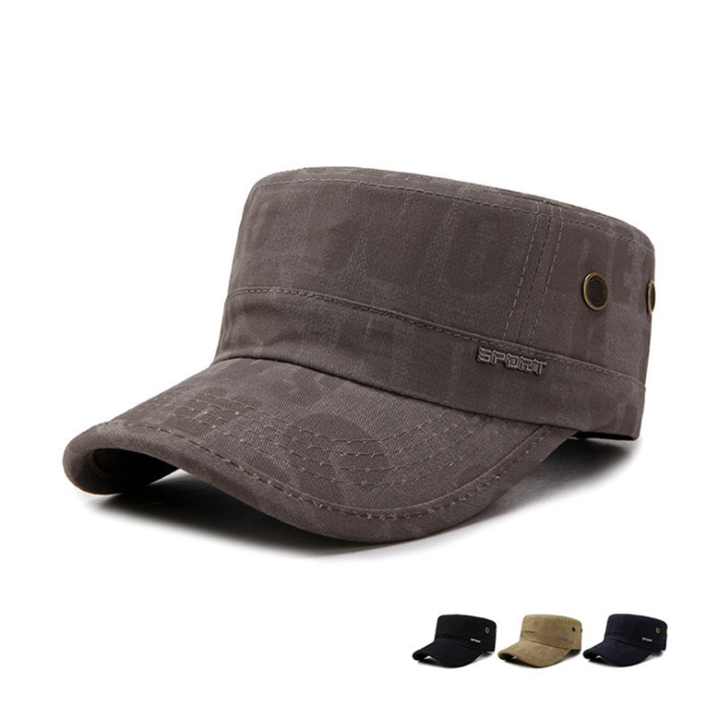 2017 Cotton Unisex Men Women Flat Top Cap Do Old Effect Military Hats  Classic Solid Color Visor Hat Summer Autumn-in Military Hats from Apparel  Accessories ... 2ef205075d6c